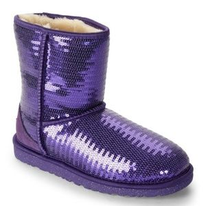 New Girl UGG Purple Classic Sequin Winter Boots
